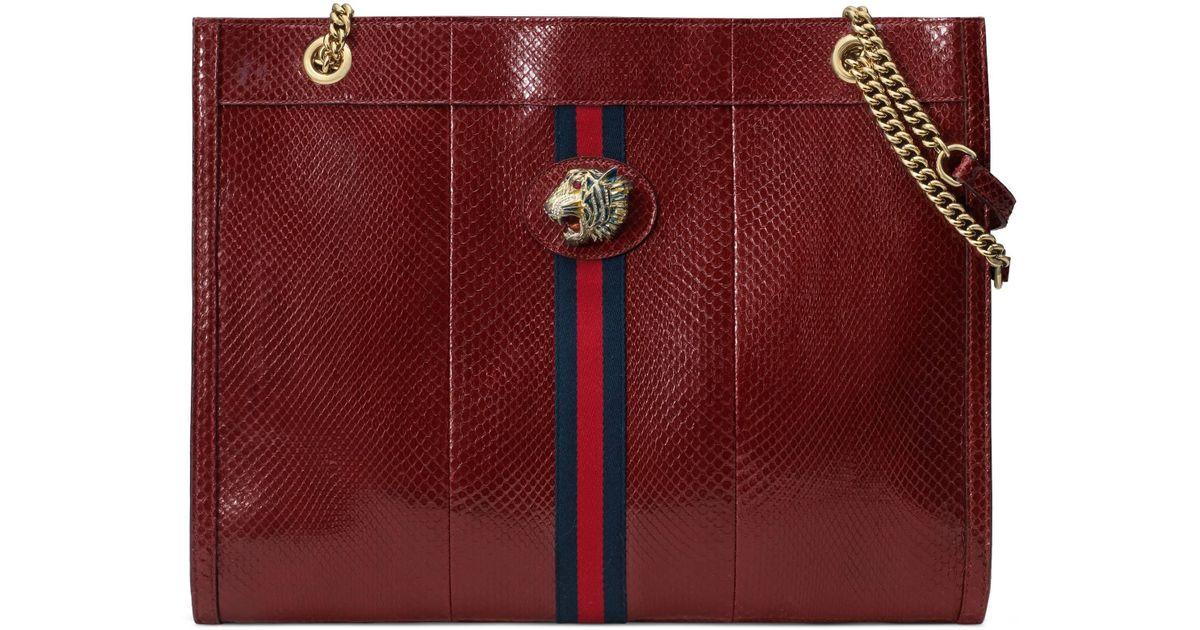 1c21894207 Gucci - Red Großer Rajah Shopper aus Python mit Tigerkopf - Lyst