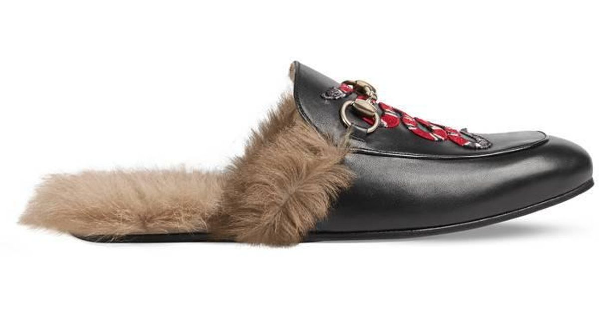 6aaf601ea2a Lyst - Gucci Princetown Leather Slipper With Snake in Black