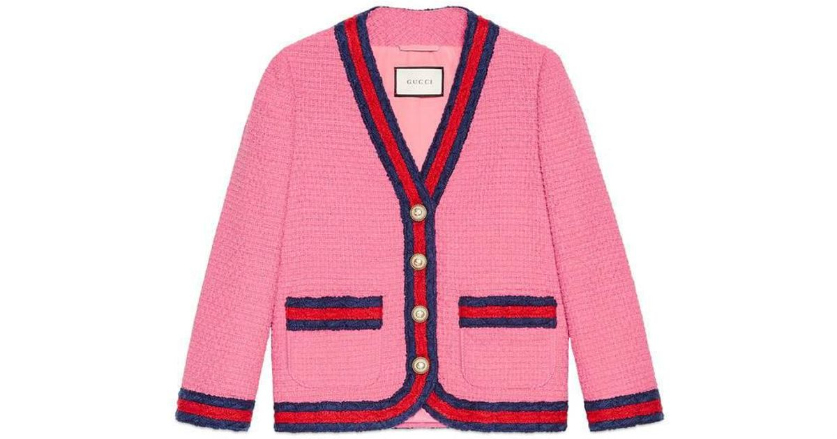 e30a99a91 Gucci Tweed Jacket With Web in Pink - Lyst