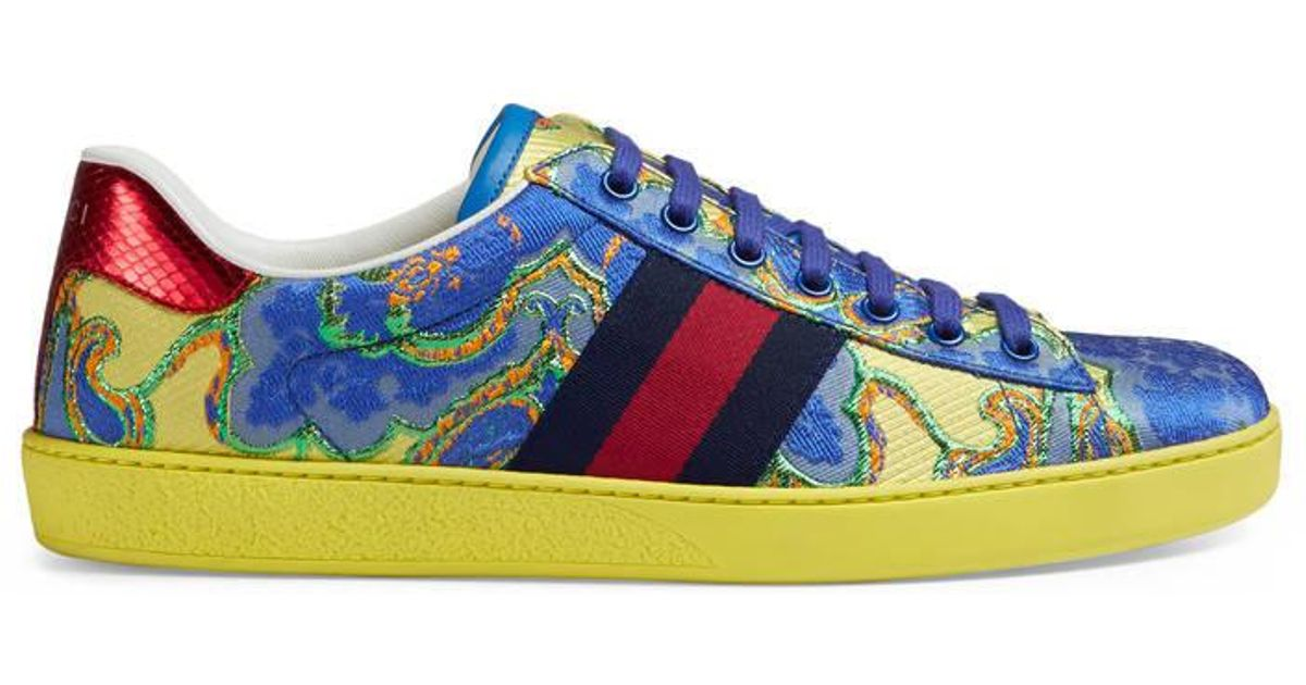 5984c120e7b Lyst - Gucci Ace Floral Jacquard Low-top Sneaker in Blue for Men