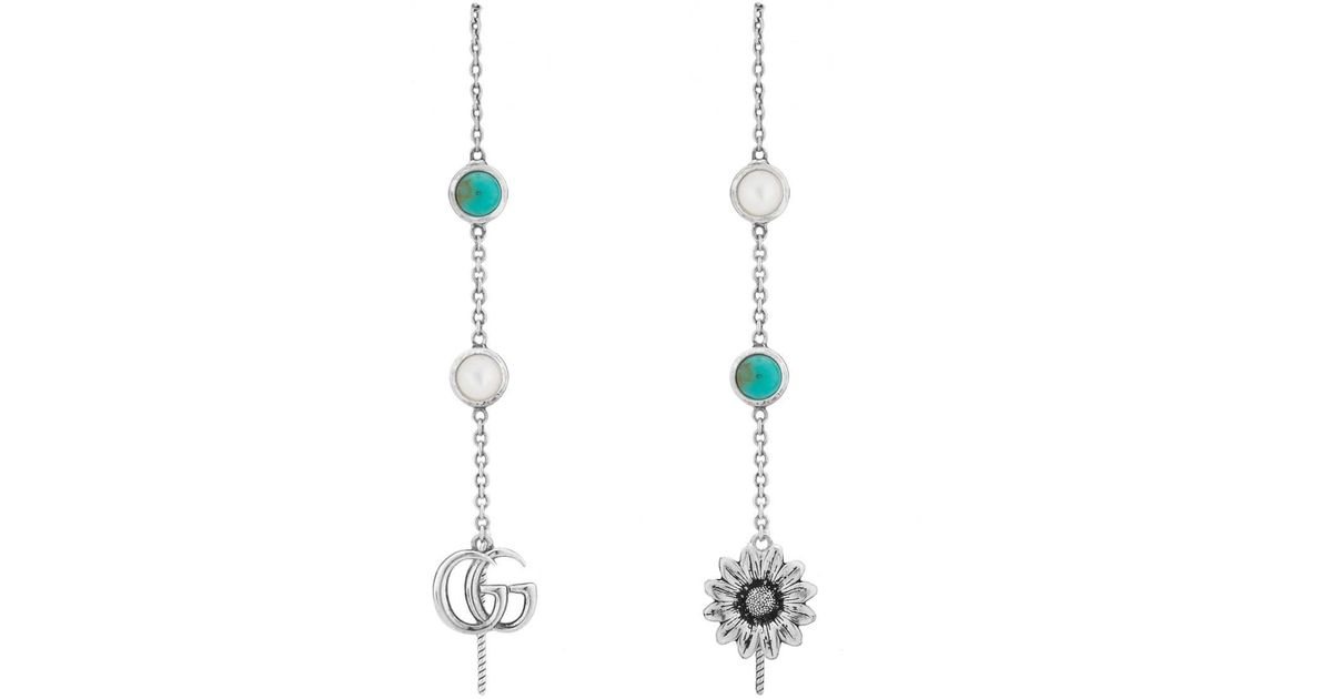 fc9d826ff Lyst - Gucci Double G Flower Drop Earrings Silver in Metallic