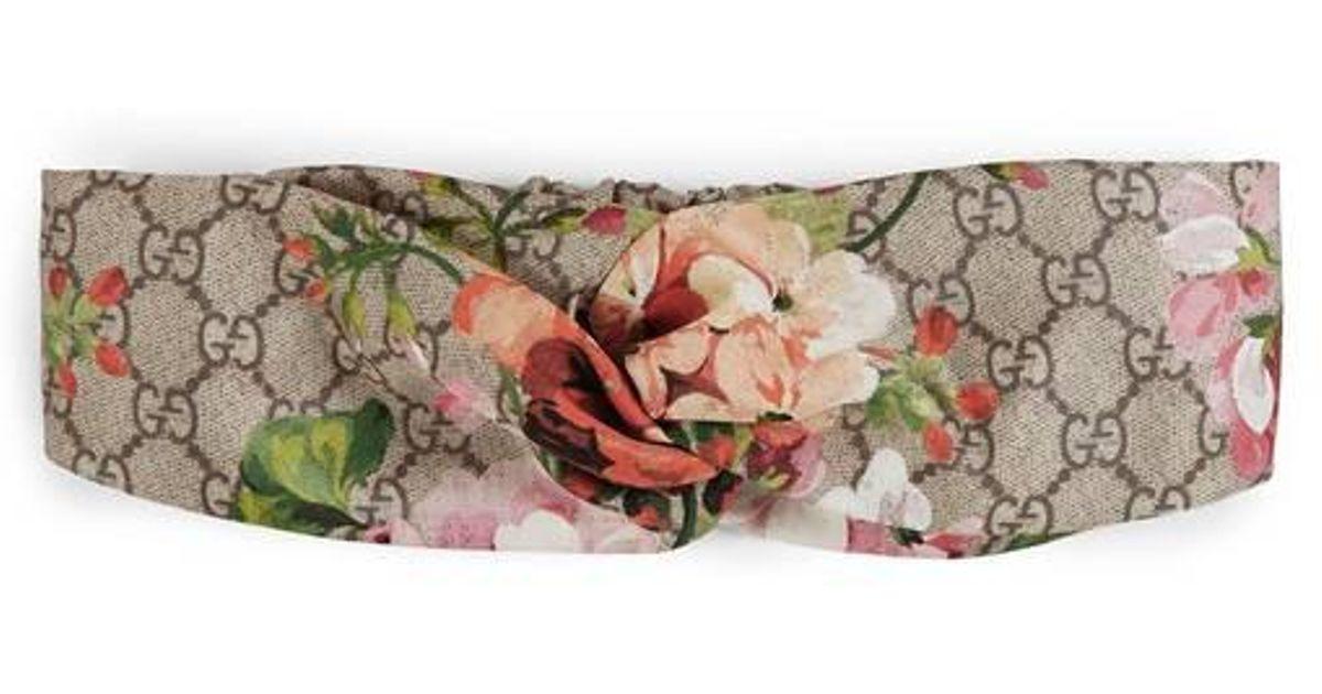 cc9829b88ae Lyst - Gucci Blooms Print Silk Headband in Natural