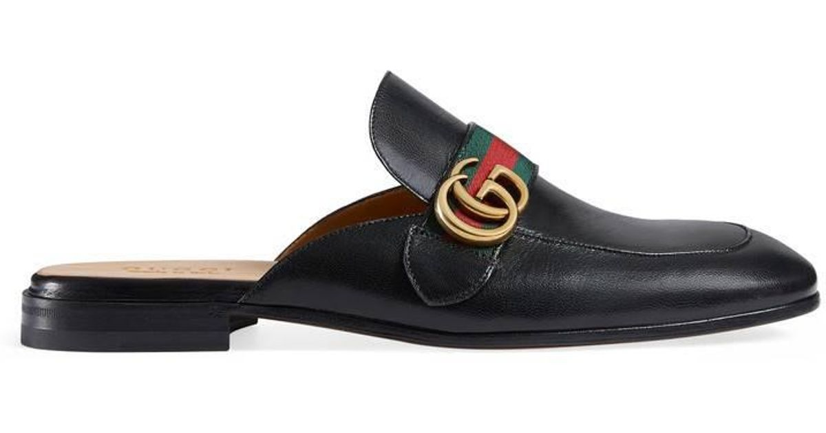 69a3d354b24 Lyst - Gucci Princetown Leather Slipper With Double G in Black for Men