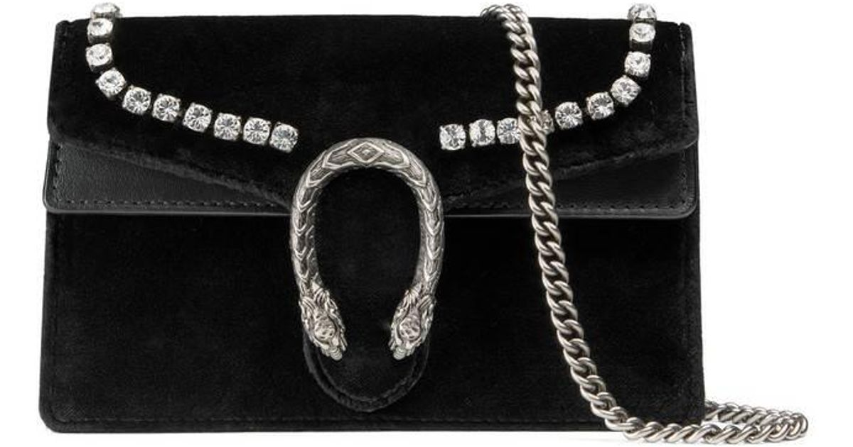 1428a65011a Lyst - Gucci Dionysus Suede Super Mini Bag With Crystals in Black