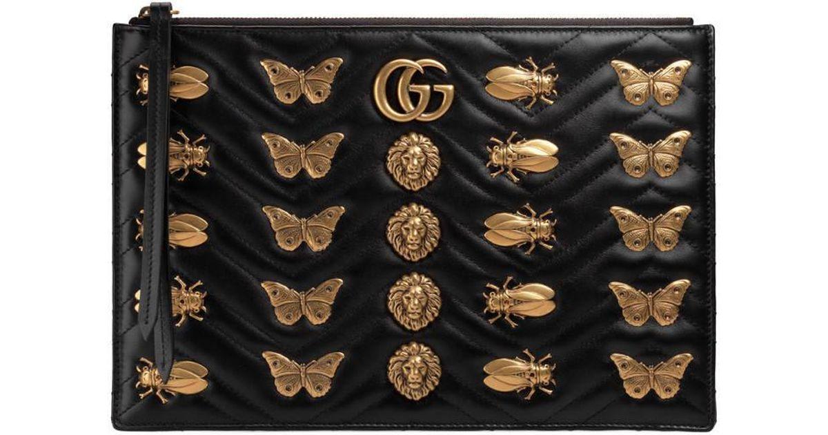 372c3e23da95 Gucci Gg Marmont Animal Studs Leather Pouch in Black - Lyst