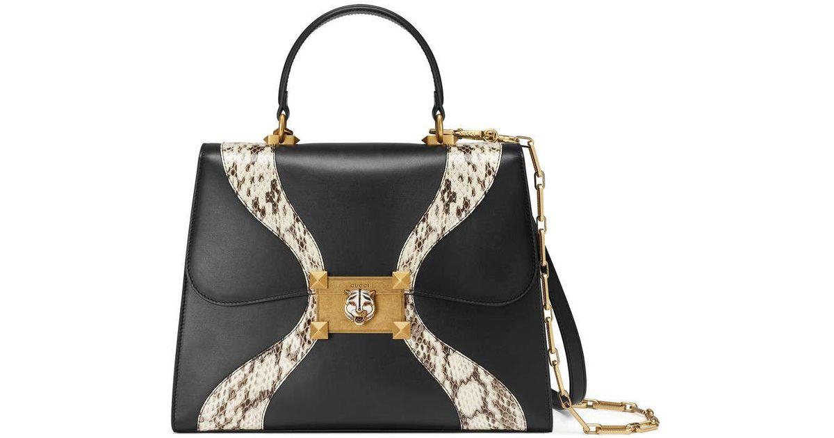 Lyst - Sac à main en cuir et peau de serpent Gucci en coloris Noir 70149ac919d
