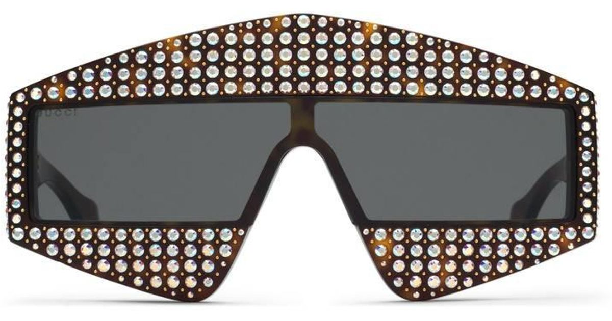 d3a62a8911f Lyst - Gucci Rectangular-frame Acetate Sunglasses With Crystals in Gray