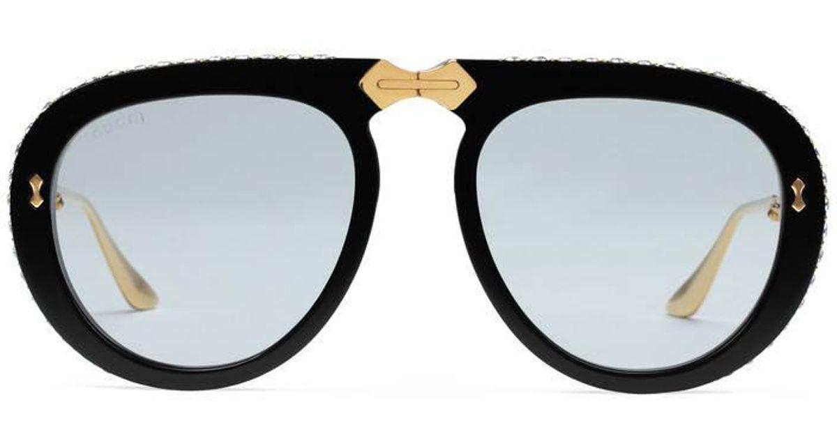916ba210468c7 Gucci Aviator Foldable Acetate Sunglasses in Black - Lyst