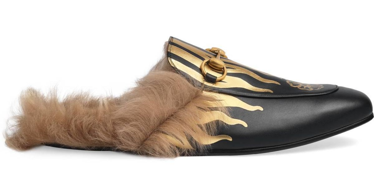 d2d89bba5 Lyst - Gucci Princetown Slipper With Flames in Black for Men