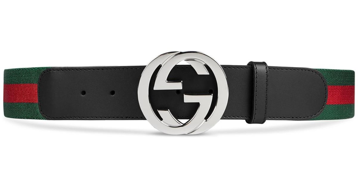 72b345b5a Gucci - Web Belt With G Buckle in Green for Men - Save 7% - Lyst