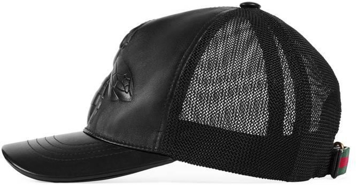 Lyst - Gucci Bee-embossed Leather Baseball Hat in Black for Men fabda7f182b