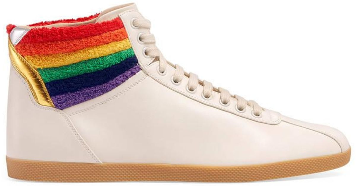 e6636f9d48f42c Gucci High-top Sneaker With Rainbow in White - Lyst