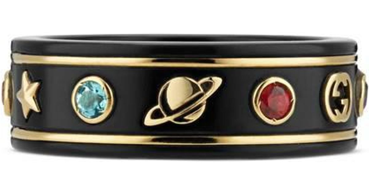 26d2551fc Gucci Icon Ring With Gemstones in Black - Lyst
