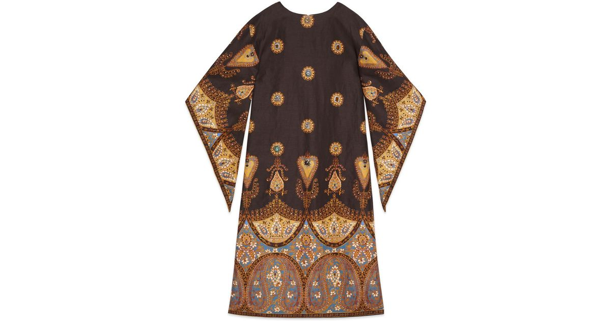2011fff4445 Lyst - Gucci Canvas Kaftan With Paisley Print in Brown