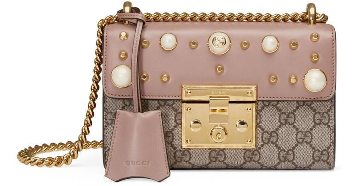 9e370278f12 Gucci Padlock Studded Gg Supreme Shoulder Bag - Lyst