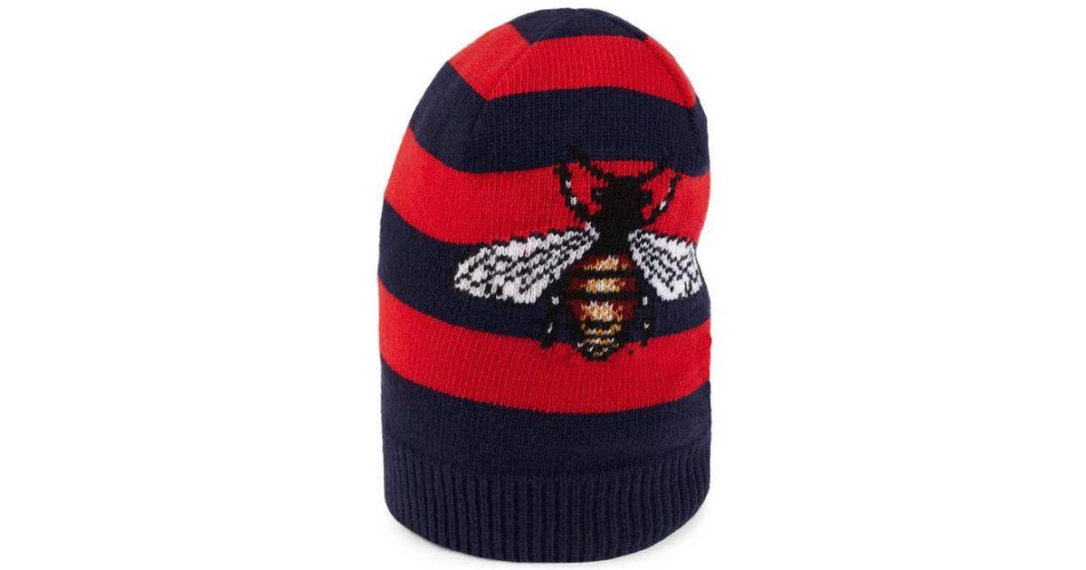 Bee striped beanie hat - Blue Gucci km2yfz