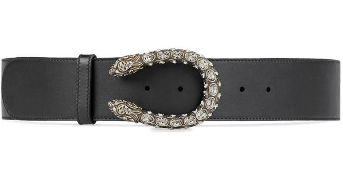 6e79bb4a19c Lyst - Gucci Leather Belt With Tiger Head Buckle in Black