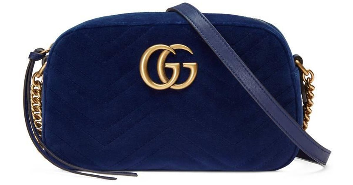 8a21d6a5c83e Gucci Gg Marmont Velvet Small Shoulder Bag in Blue - Lyst
