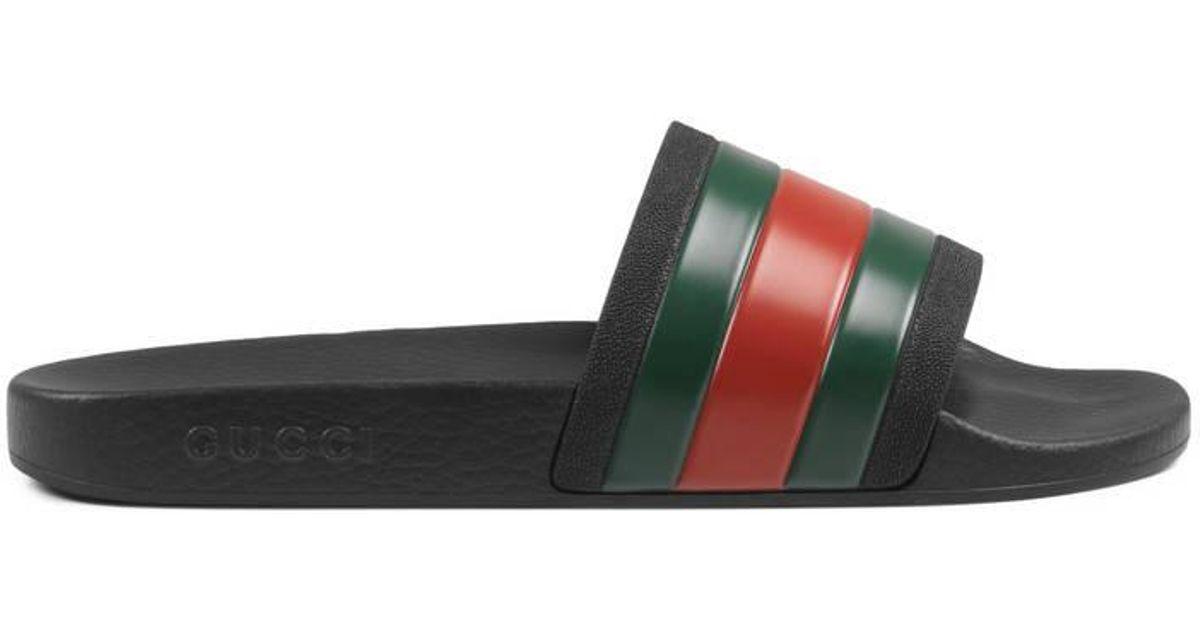 30d9e79c33e9 Lyst - Gucci Rubber Slide Sandal in Black for Men
