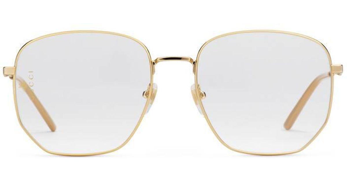7f89e882c Gucci Rectangular-frame Metal Glasses in Metallic - Lyst