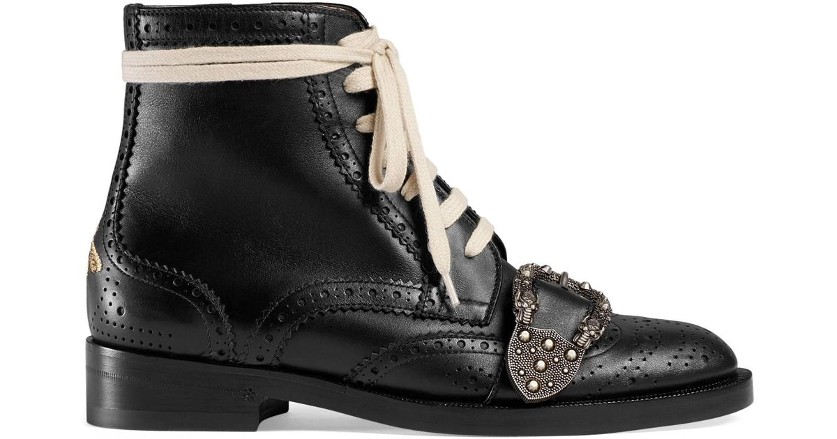 d139b3063ee Gucci Queercore Brogue Boot in Black - Lyst
