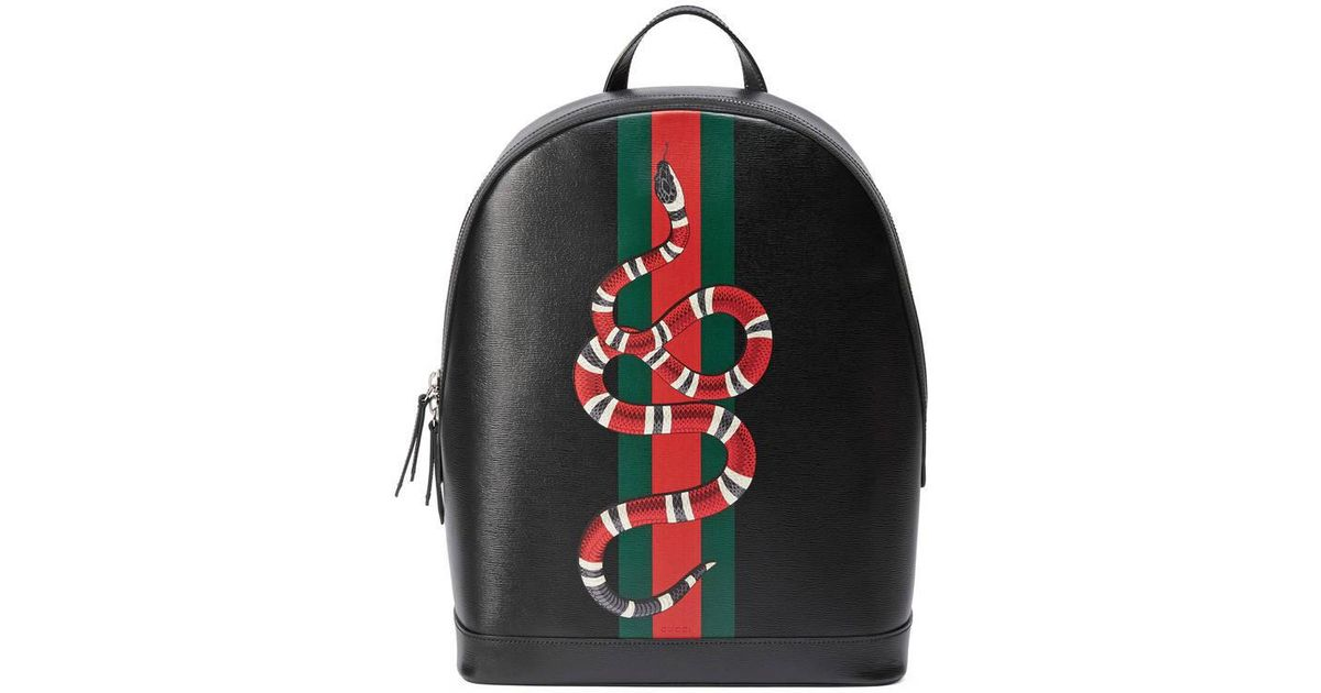 98a9cecbe172c7 Gucci Web And Snake Print Leather Backpack in Black for Men - Lyst