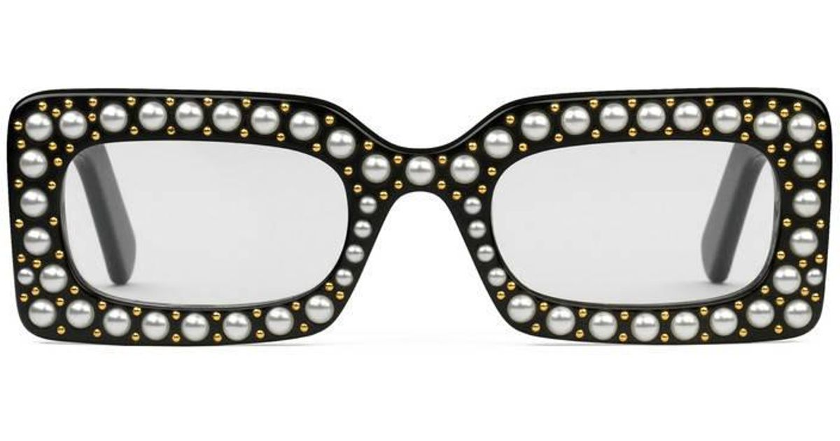 a2c7dcf4d5c Gucci Rectangular-frame Sunglasses With Pearls in Black - Lyst