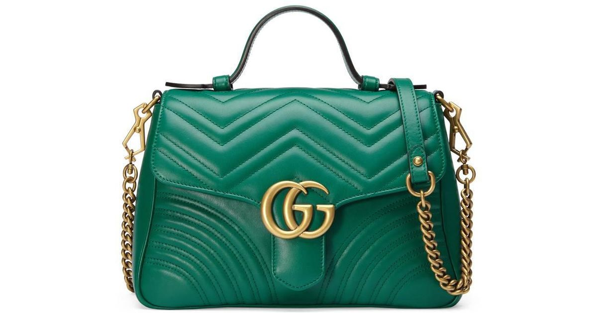 3890d04cc28899 Gucci Gg Marmont Small Top Handle Bag in Green - Lyst
