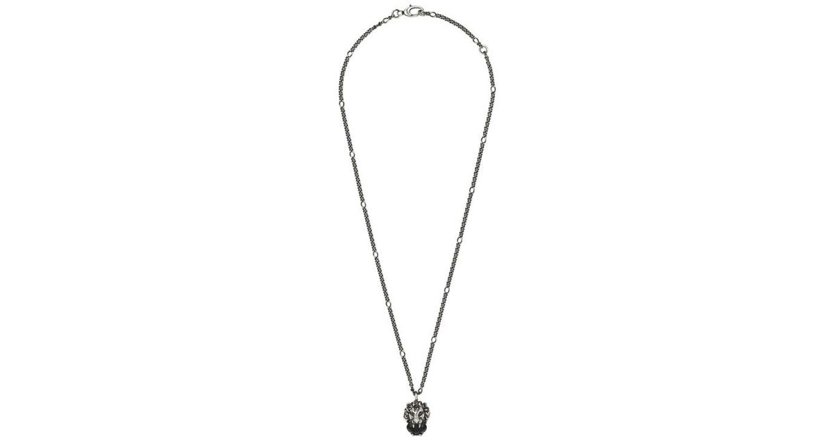 26d23de717aa38 Gucci - Lion Head Necklace With Crystal in Metallic - Save 5% - Lyst