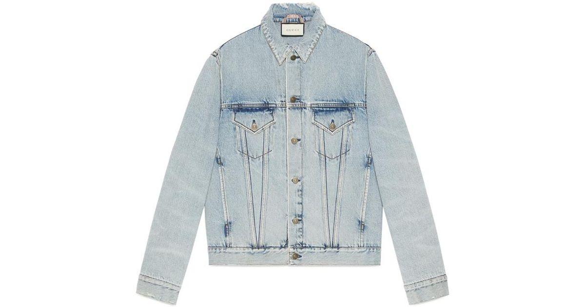fd1e2fb6fee Lyst - Gucci Denim Jacket With Teddy Bear in Blue for Men