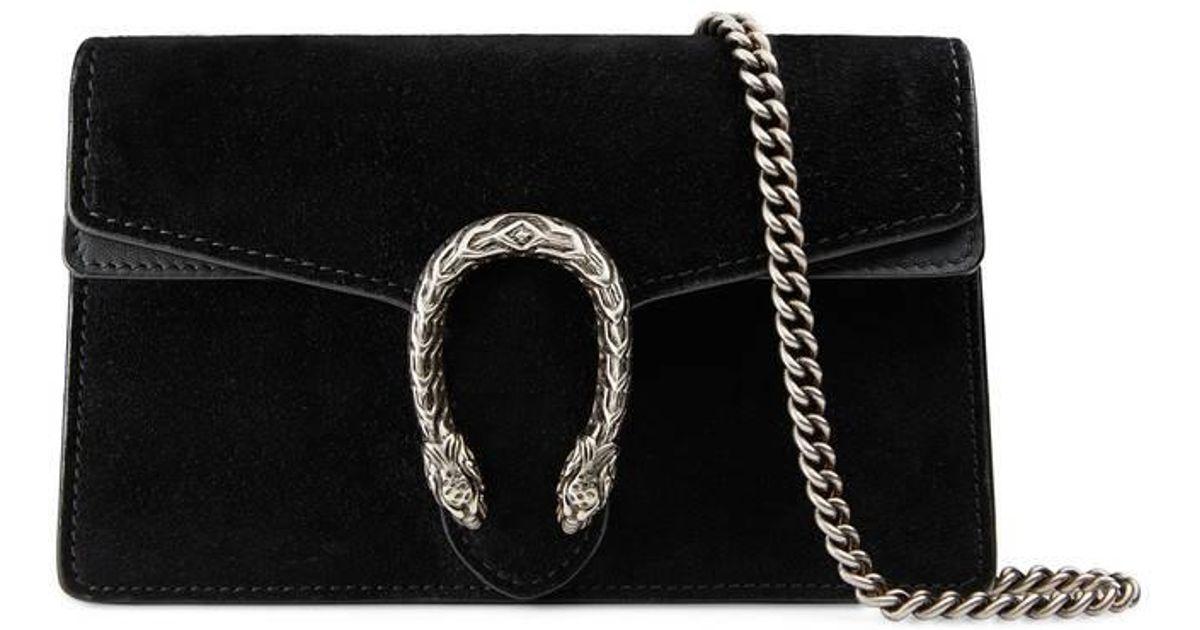 cec1da8f7 Gucci Dionysus Suede Super Mini Bag in Black - Lyst