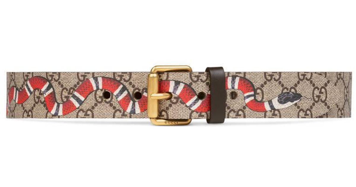 c73aeb29f Gucci Snake Print Gg Supreme Belt for Men - Save 36% - Lyst