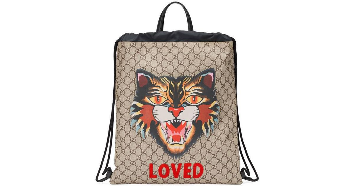 c3c55ea54a56 Lyst - Gucci Angry Cat Print Soft Gg Supreme Drawstring Backpack in Natural  for Men