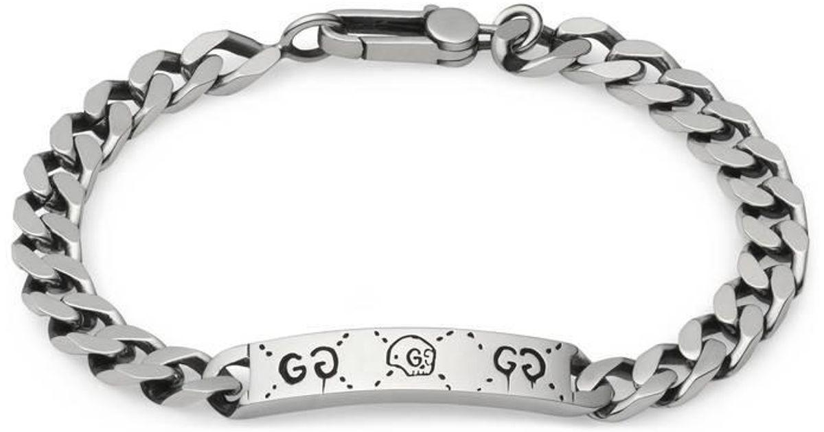 Gucci Metallic Ghost Chain Bracelet In Silver for men