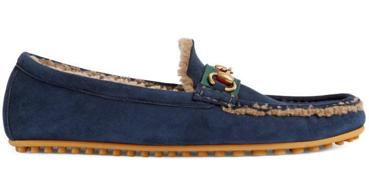 42dbee44c Lyst - Gucci Shearling Driver With Web in Blue for Men