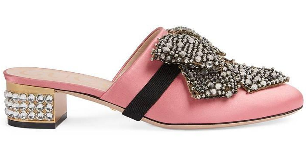 d934627ff6b Lyst - Gucci Satin Slipper With Removable Crystal Bow in Pink