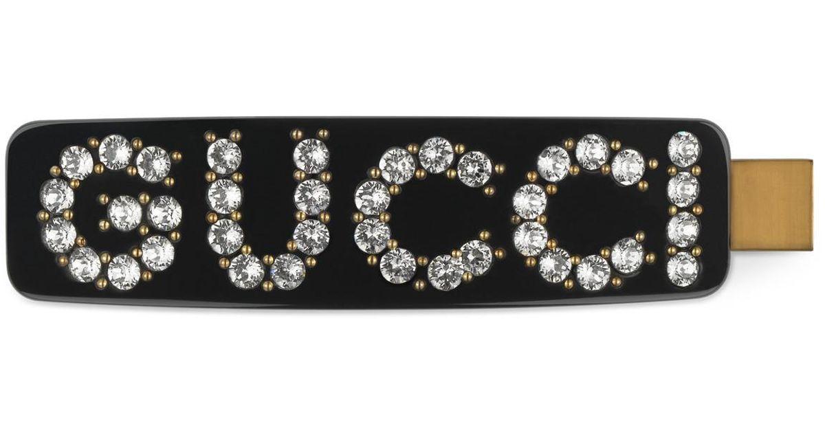 e3983ea3535 Lyst - Gucci Crystal Single Hair Clip in Black