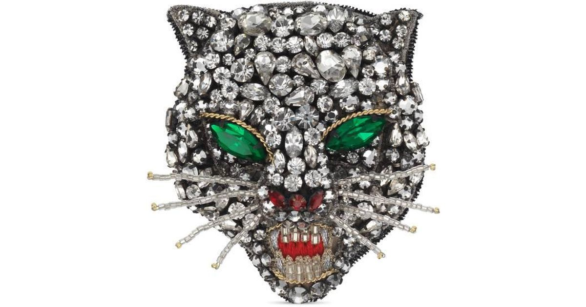Gucci Crystal cat head brooch A4WMvw
