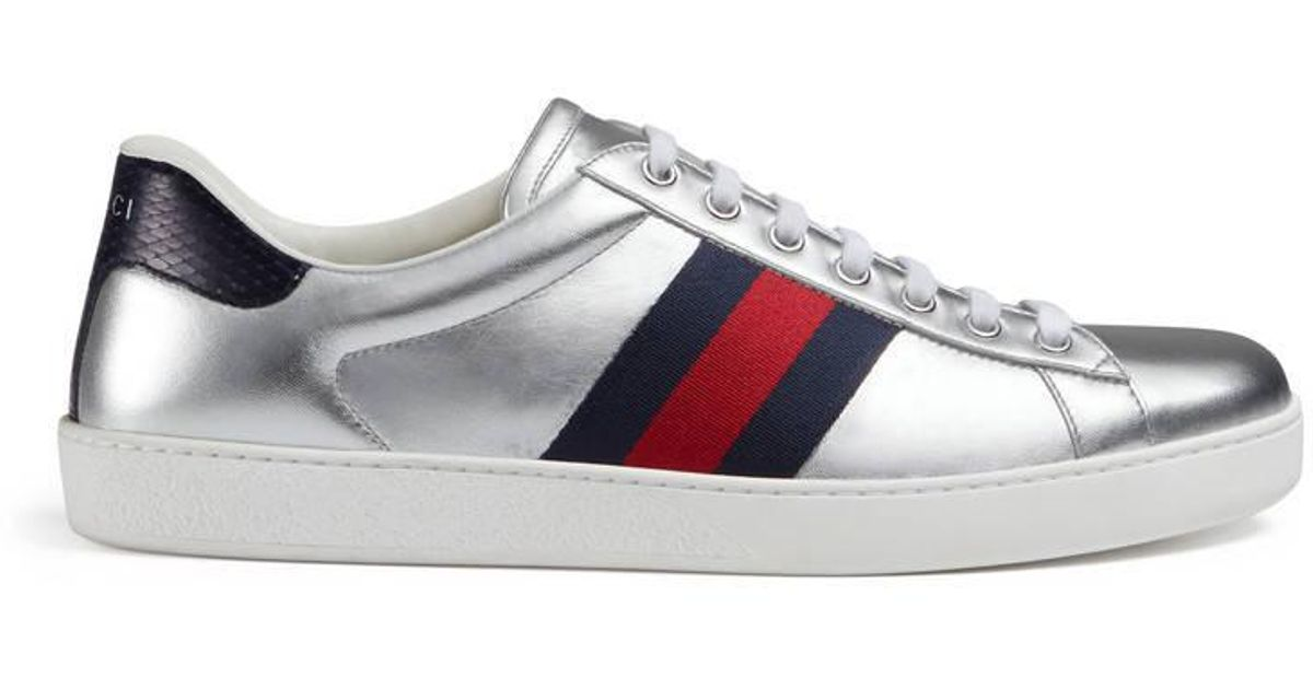 dc879af68573 Lyst - Gucci Ace Metallic Leather Low-top Sneaker in Metallic for Men