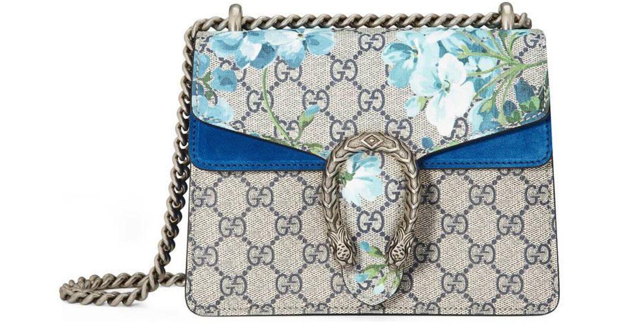 2f6ccd1a942 Lyst - Gucci Dionysus Gg Blooms Mini Bag in Blue
