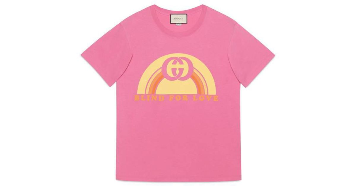 ccf266935a1 Lyst - Gucci Oversize T-shirt With Rainbow Print in Pink