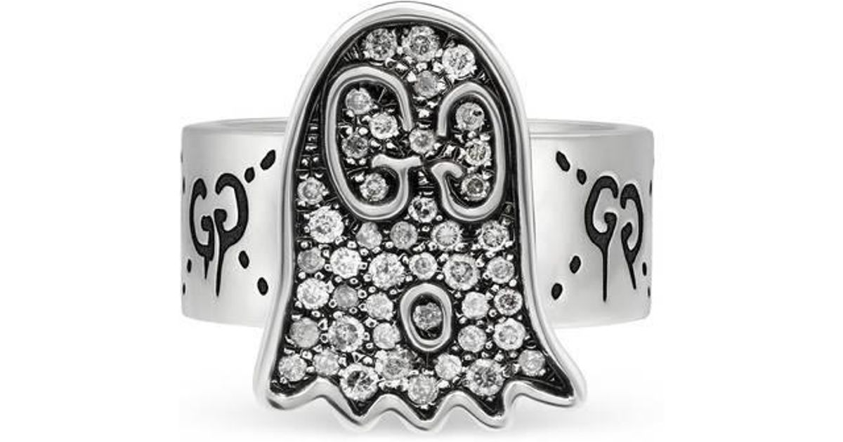 dc8ade147 Gucci Ghost Ring With Diamonds in Metallic - Lyst
