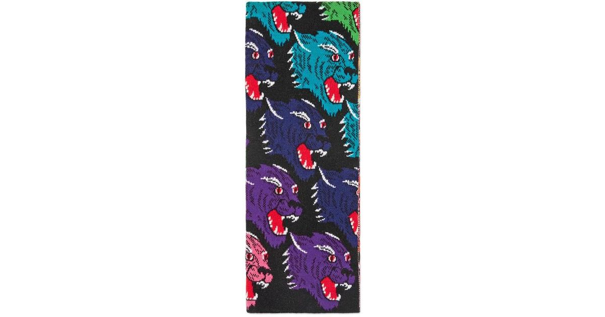 rainbow panther face jaquard scarf - Black Gucci