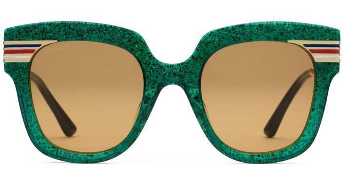 e7efdcf1660d0 Lyst - Gucci Square-frame Glitter Acetate Sunglasses in Green