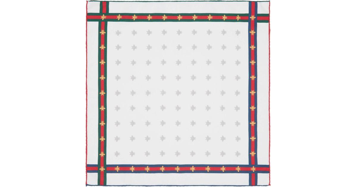 Lyst - Carré de soie pour pochette à motif abeilles avec ruban Web Gucci  pour homme en coloris Blanc d66159297be
