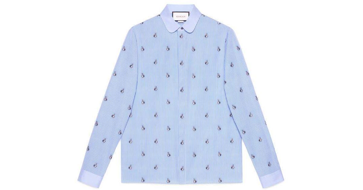 fed4b57d8 Gucci Rabbit Fil Coupé Cambridge Shirt in Blue for Men - Lyst