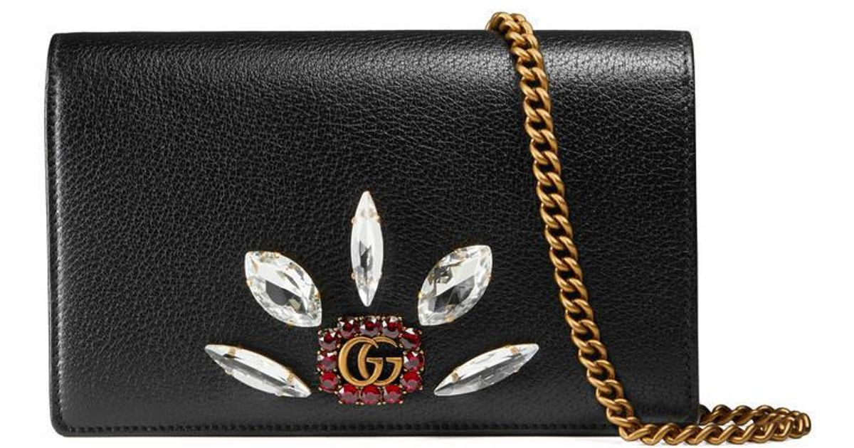 6f227cd9e65 Lyst - Gucci Leather Mini Chain Bag With Double G And Crystals in Black
