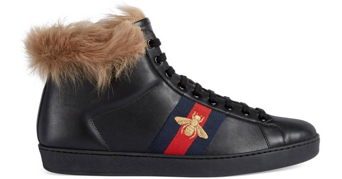 c915a6c5859 Lyst - Gucci Ace High-top Sneaker With Fur in Black for Men