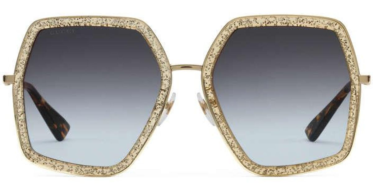 fbd59dc8c0 Lyst - Gucci Oversize Square-frame Metal Sunglasses in Gray