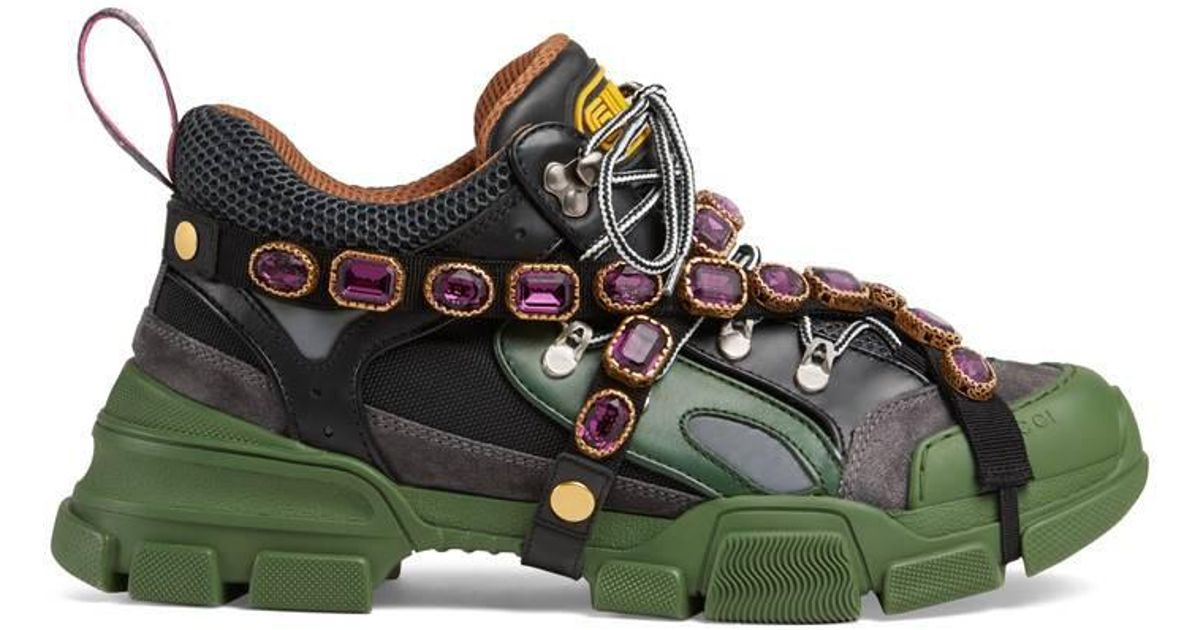 Gucci Crystal Flashtrek Sneakers in Green for Men - Save 26% - Lyst